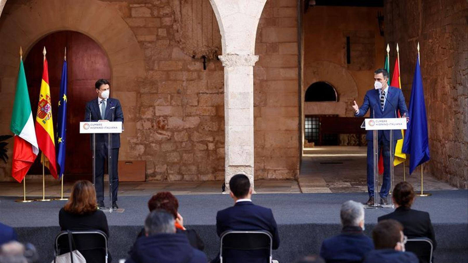 El primer ministre italià, Giuseppe Conte, i el president del govern espanyol, Pedro Sánchez