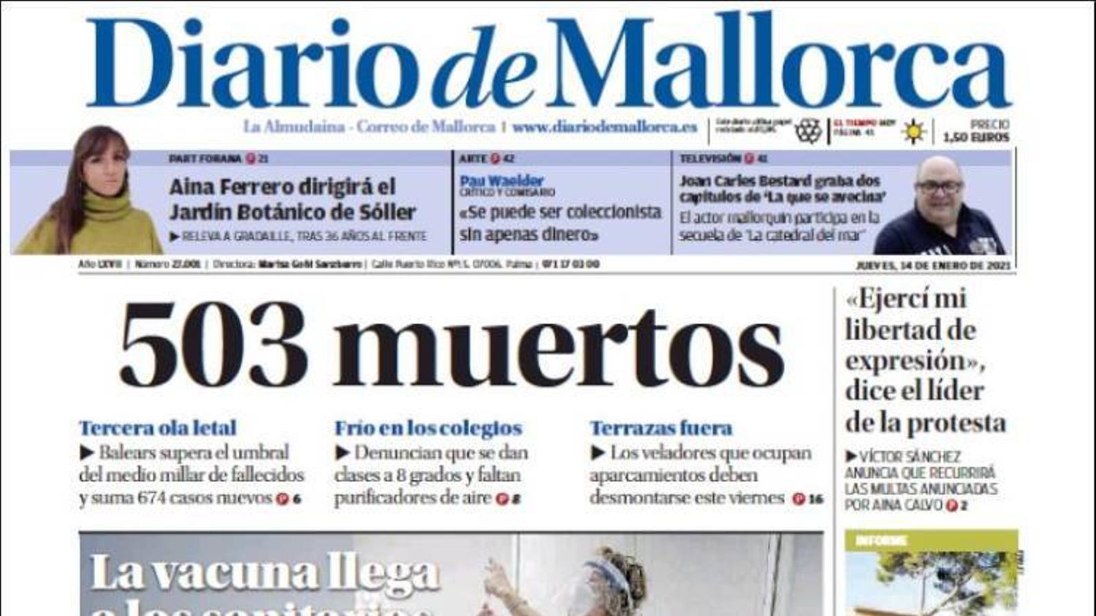 """""""503 morts"""", portada de 'Diario de Mallorca'"""