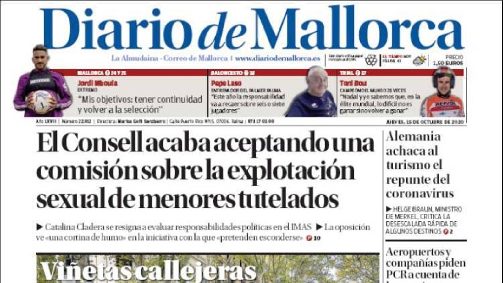 """""""El Consell acaba acceptant una comissió sobre l'explotació sexual de menors tutelats"""", portada de 'Diario de Mallorca'"""