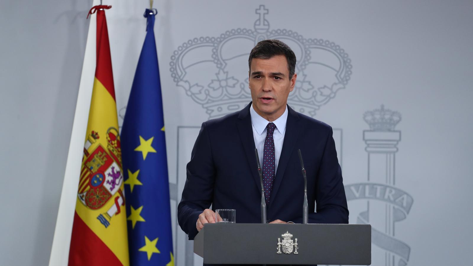 Pedro Sánchez ha comparegut en una roda de premsa sense preguntes / REUTERS