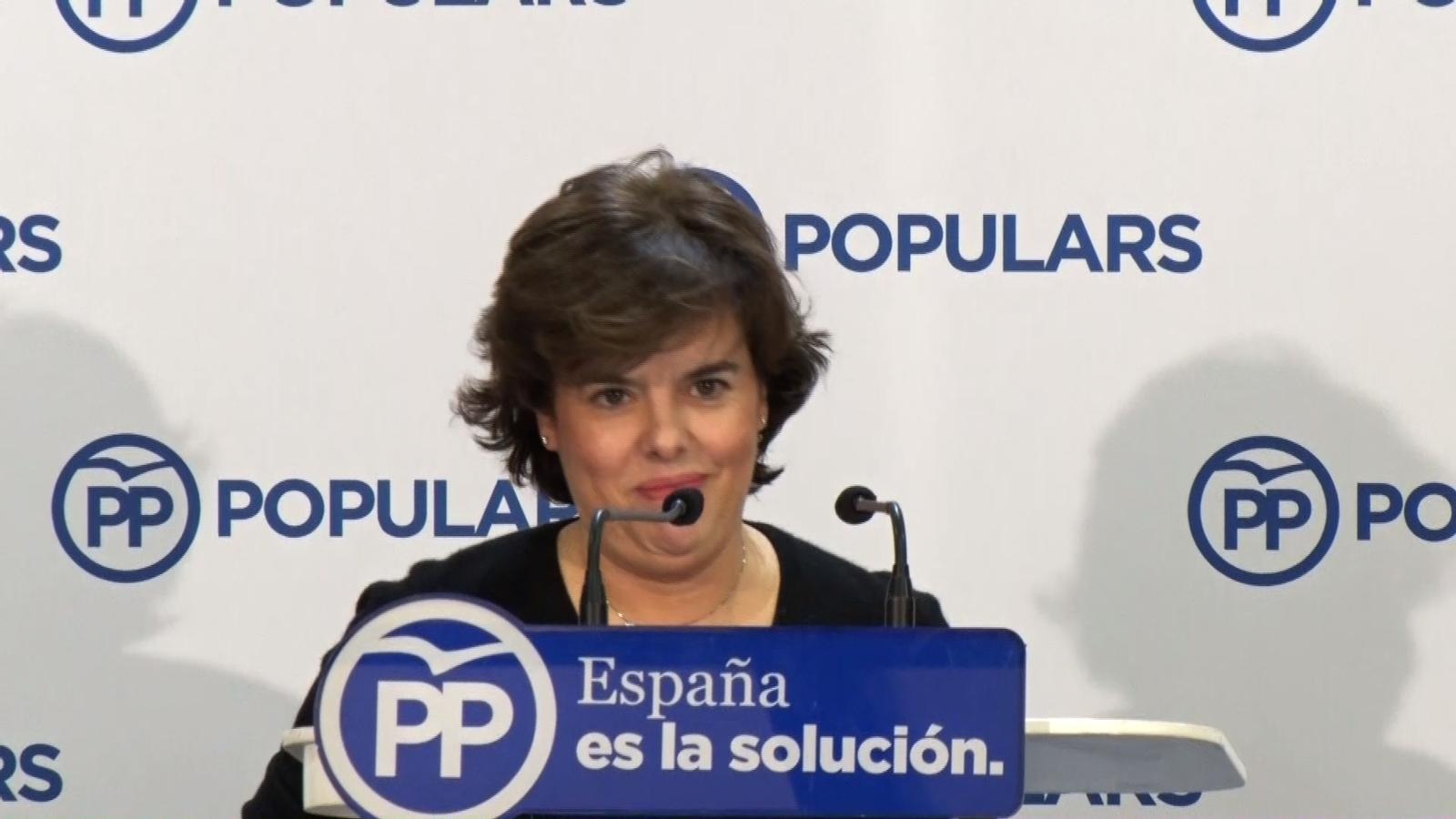 """Soraya Sáenz de Santamaría es vanta d'haver """"escapçat"""" els líders d'ERC i JxCat, fa broma sobre la """"liquidació"""" del Diplocat i demana el vot per """"seguir liquidant l'independentisme"""""""
