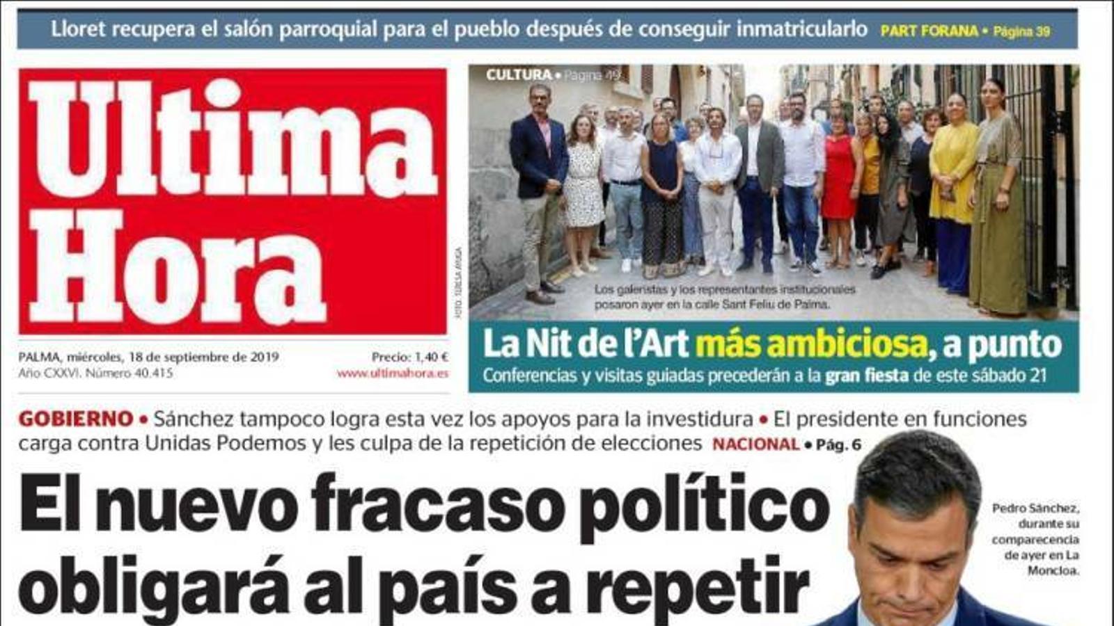 """""""El nou fracàs polític obligarà al país a repetir eleccions en 54 dies"""", portada d''Última Hora'"""