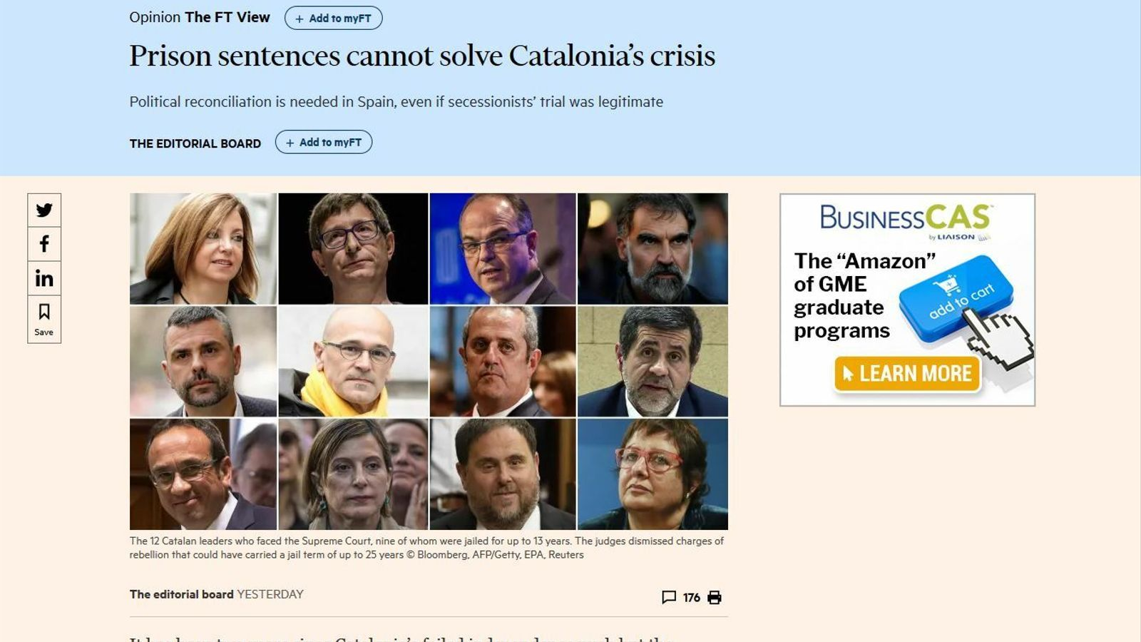 """""""Les condemnes a presó  no resoldran la crisi a Catalunya"""", a l'editorial de 'Financial Times'"""