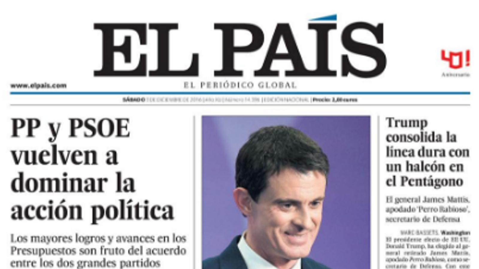 """""""PP i PSOE tornen a dominar l'acció política"""", portada d''El País'"""