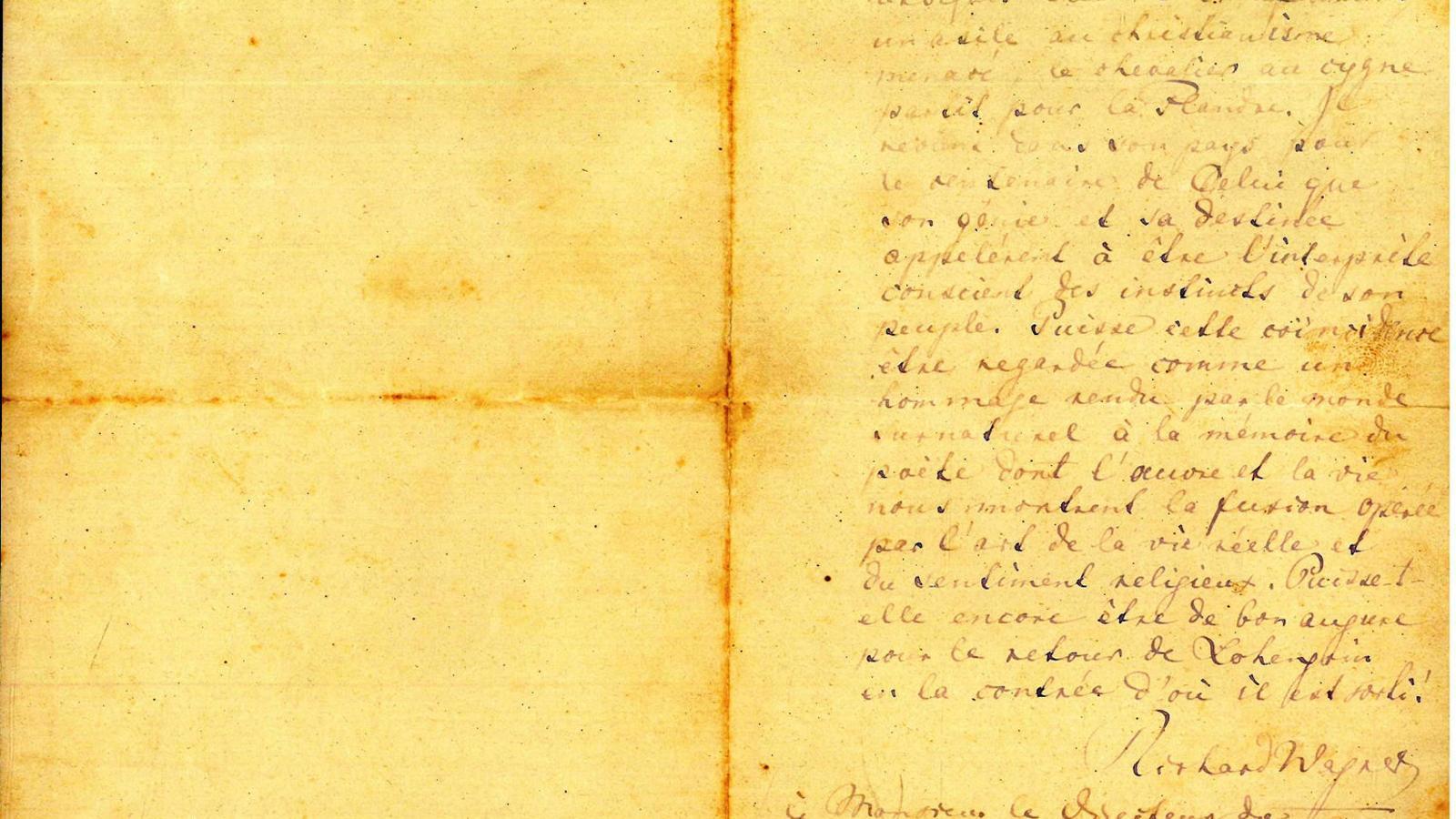 La carta autògrafa de Wagner ha estat donada a Montserrat. / MONESTIR DE MONTSERRAT