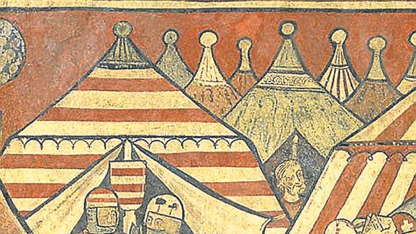 Un detall de les 'Pintures murals de la conquesta de Mallorca'