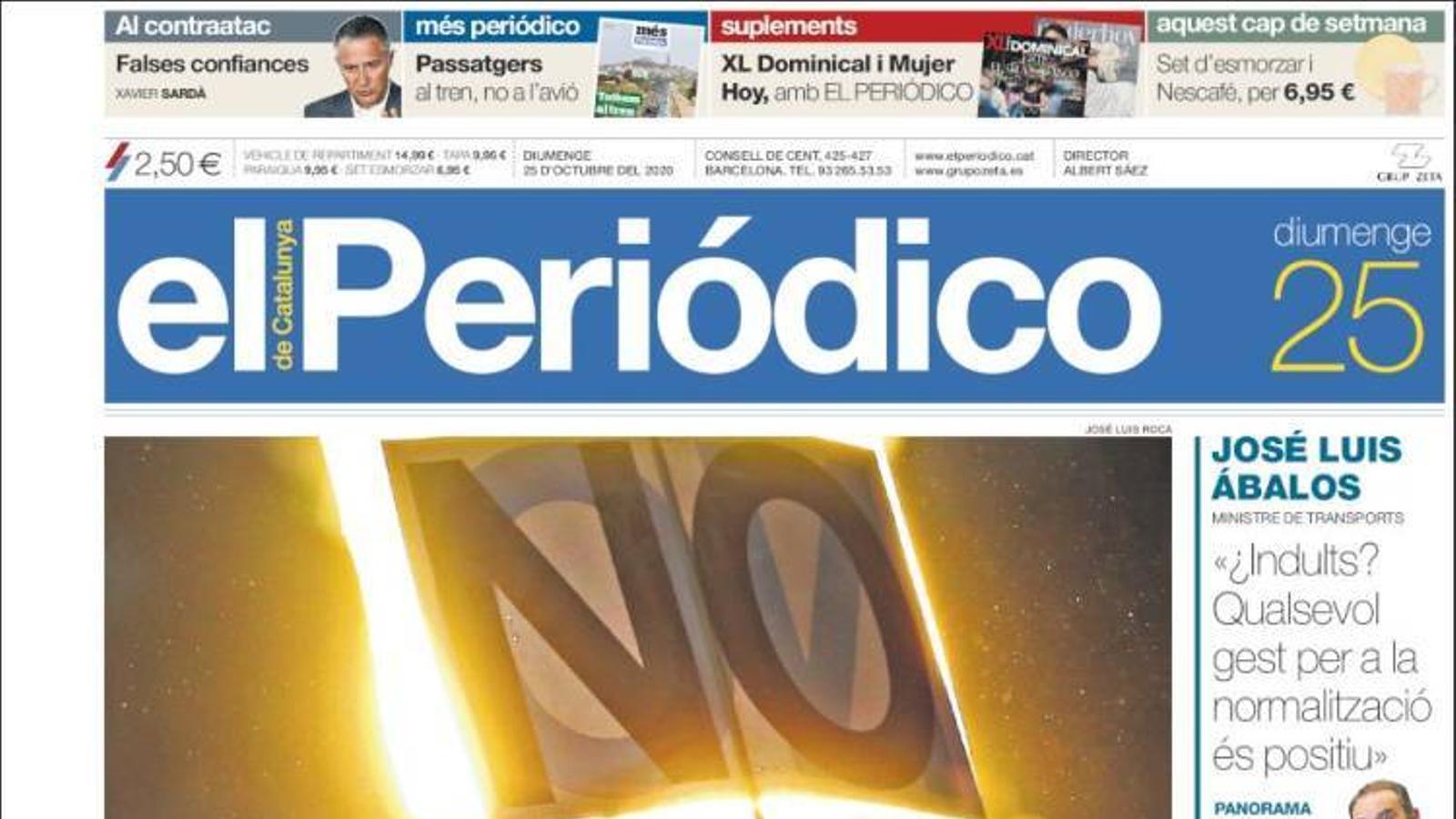"""""""Epidèmia de desafecció"""", portada d''El Periódico'"""