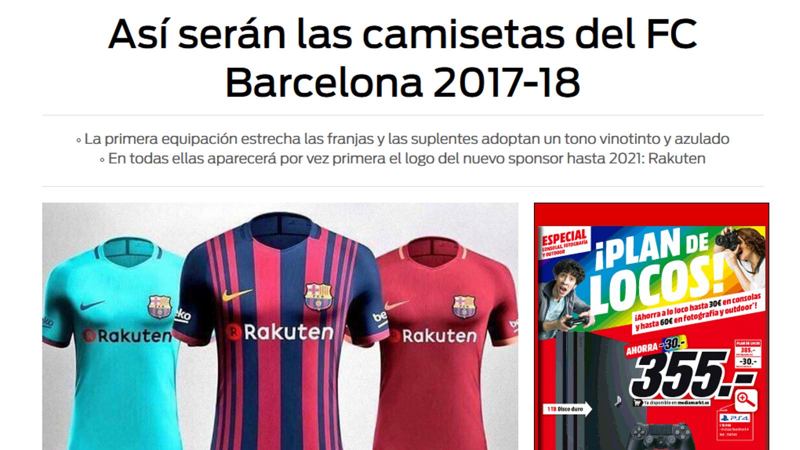 Així seran les samarretes del Barça per a la temporada 2017 2018 ... cdcca2312e7