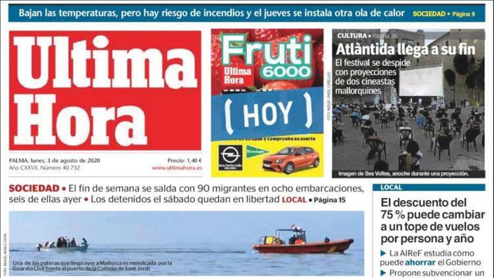 """""""Onada de pasteres cap a les Balears"""", a la portada d''Última Hora'"""