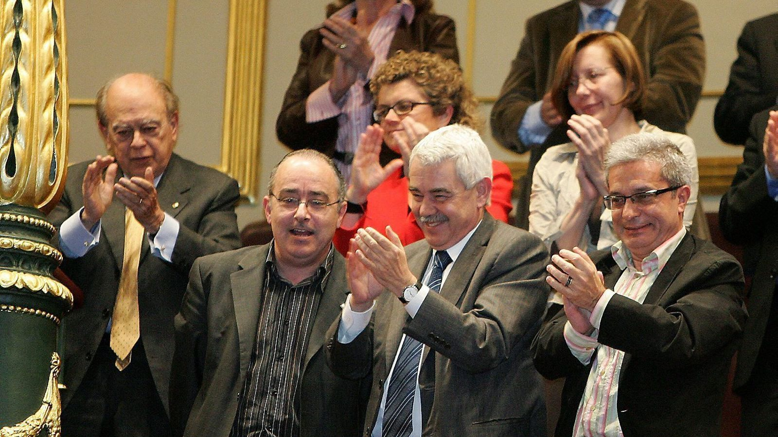 Pasqual Maragall, amb Josep Bargalló i Joan Saura (amb Jordi Pujol a segona fila), a la tribuna del Congrés.