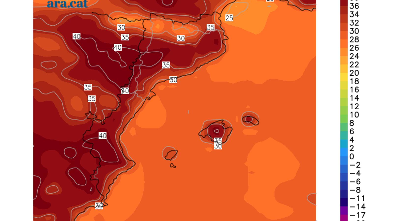 Temperatura màxima prevista per divendres