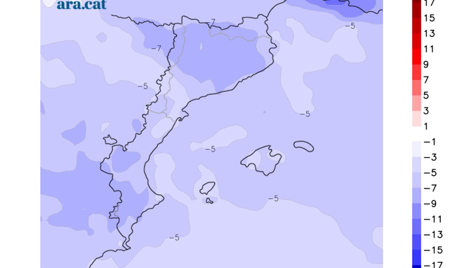 Diferència prevista entre la temperatura mínima d'avui i la de dissabte / ARA