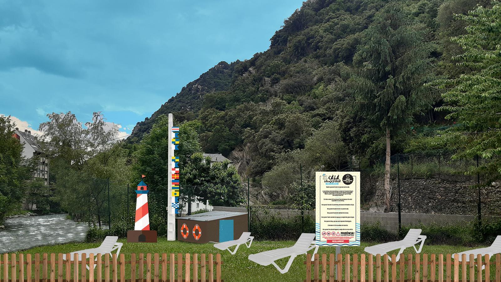 La platja fluvial que estrenarà Sant Julià de Lòria a finals de juny. / COMÚ DE SANT JULIÀ