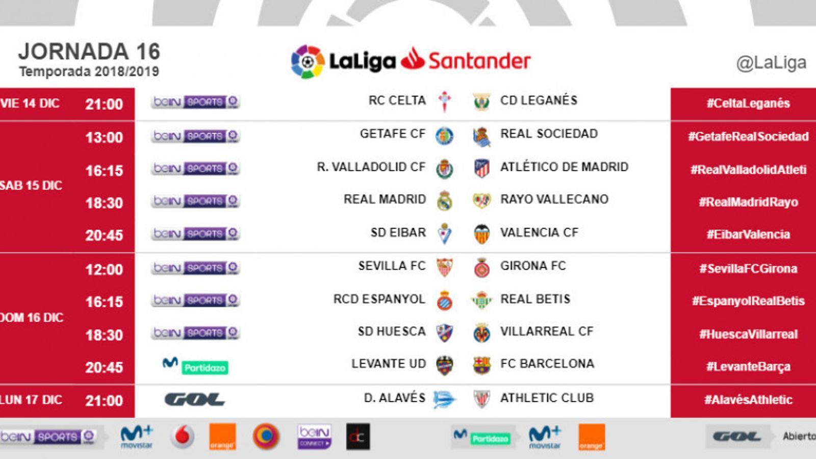 Els horaris de la jornada 16 de Lliga