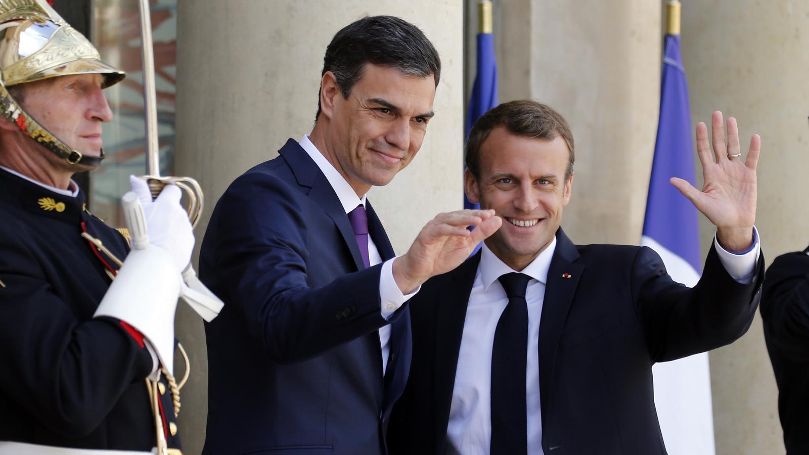 Pedro Sánchez, aquest dissabte amb Emmanuel Macron a l'Elisi.