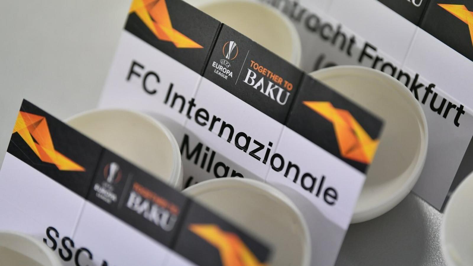 Imatge del sorteig de vuitens de final de la UEFA Europa League 2019