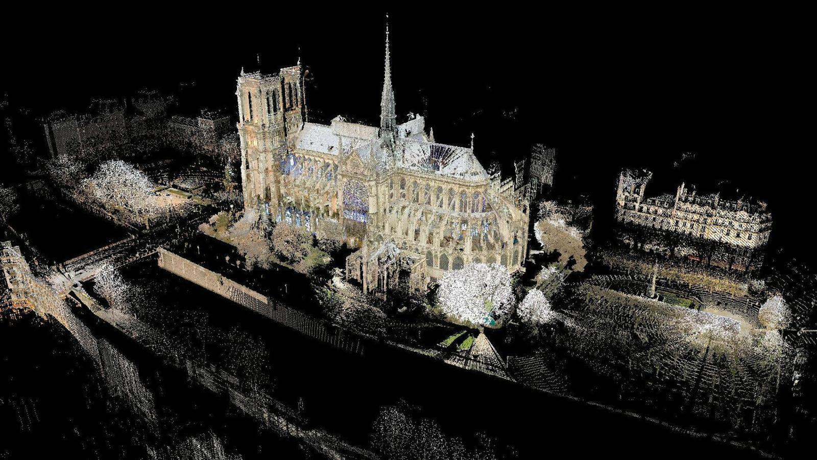 01. Escaneig làser de Notre-Dame. 02. Escaneig làser de l'estructura de la coberta. 03. Secció en 3D de la catedral de Notre-Dame. . 04. Versió de la Stryge feta amb cendra i pedra calcària.  Peu de foto.