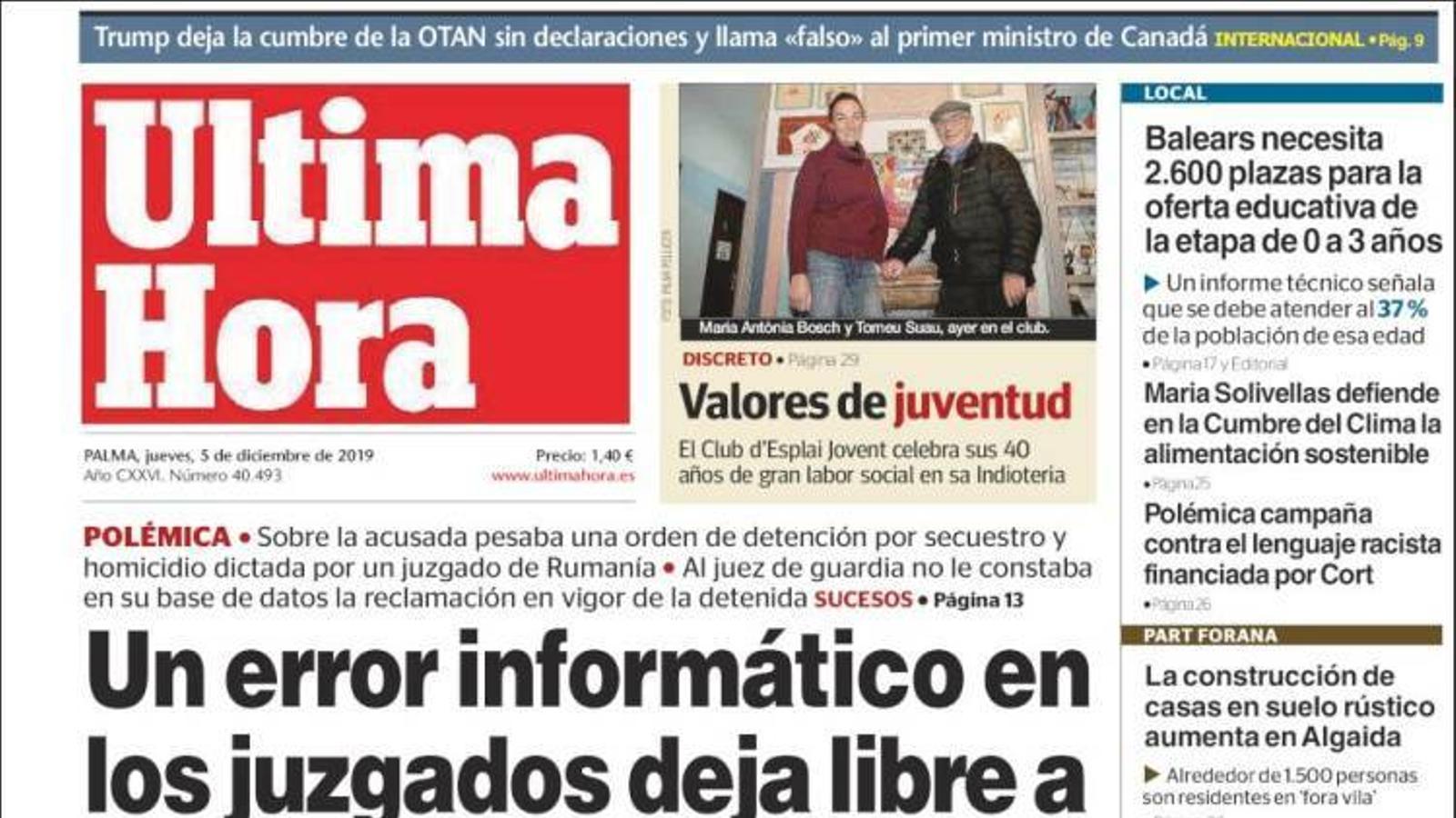 """""""Un error informàtic en els jutjats de Palma deixa lliure una homicida a Palma"""", portada d''Última Hora'"""