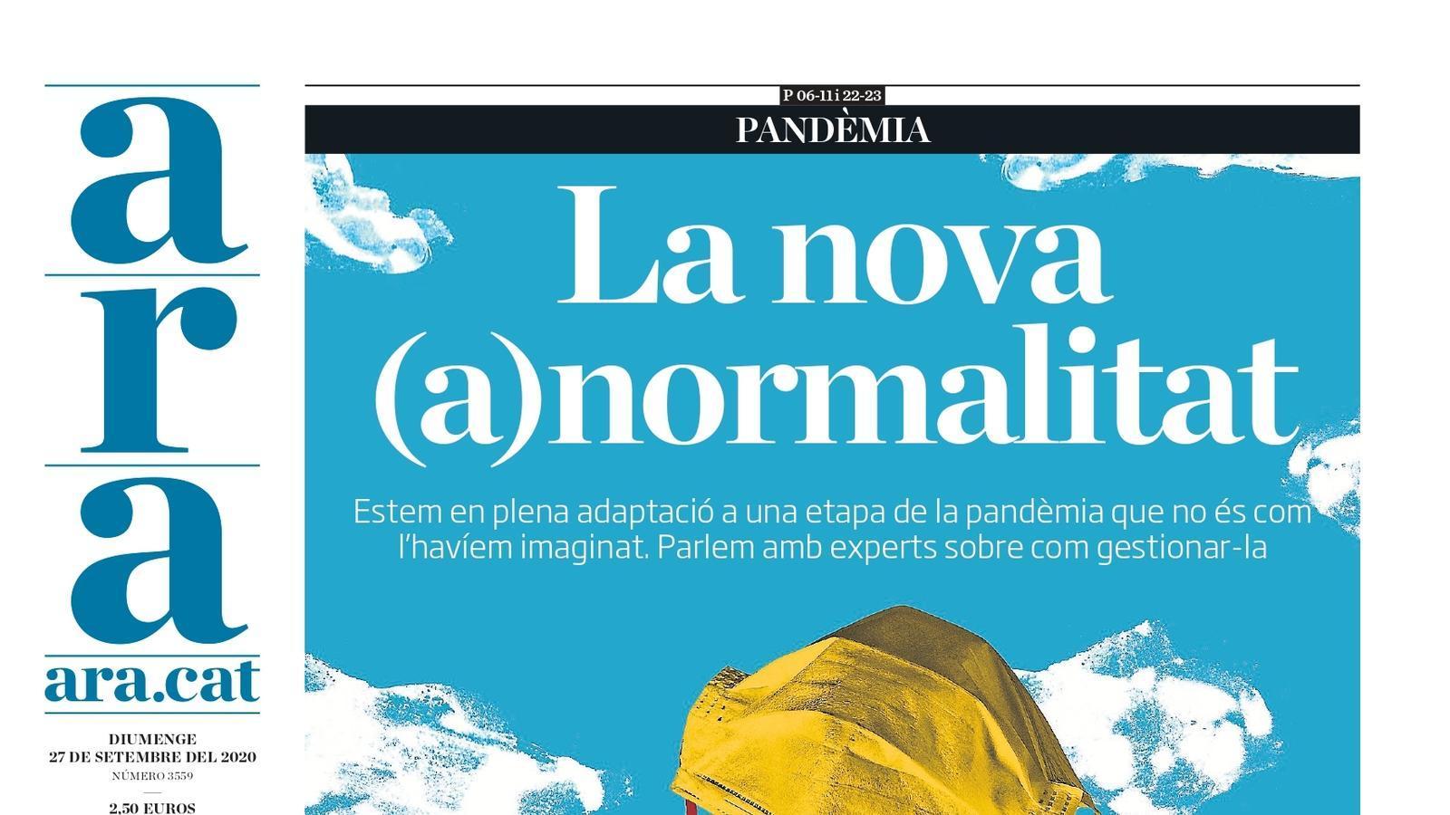 La portada de l'ARA del 27 de setembre de 2020