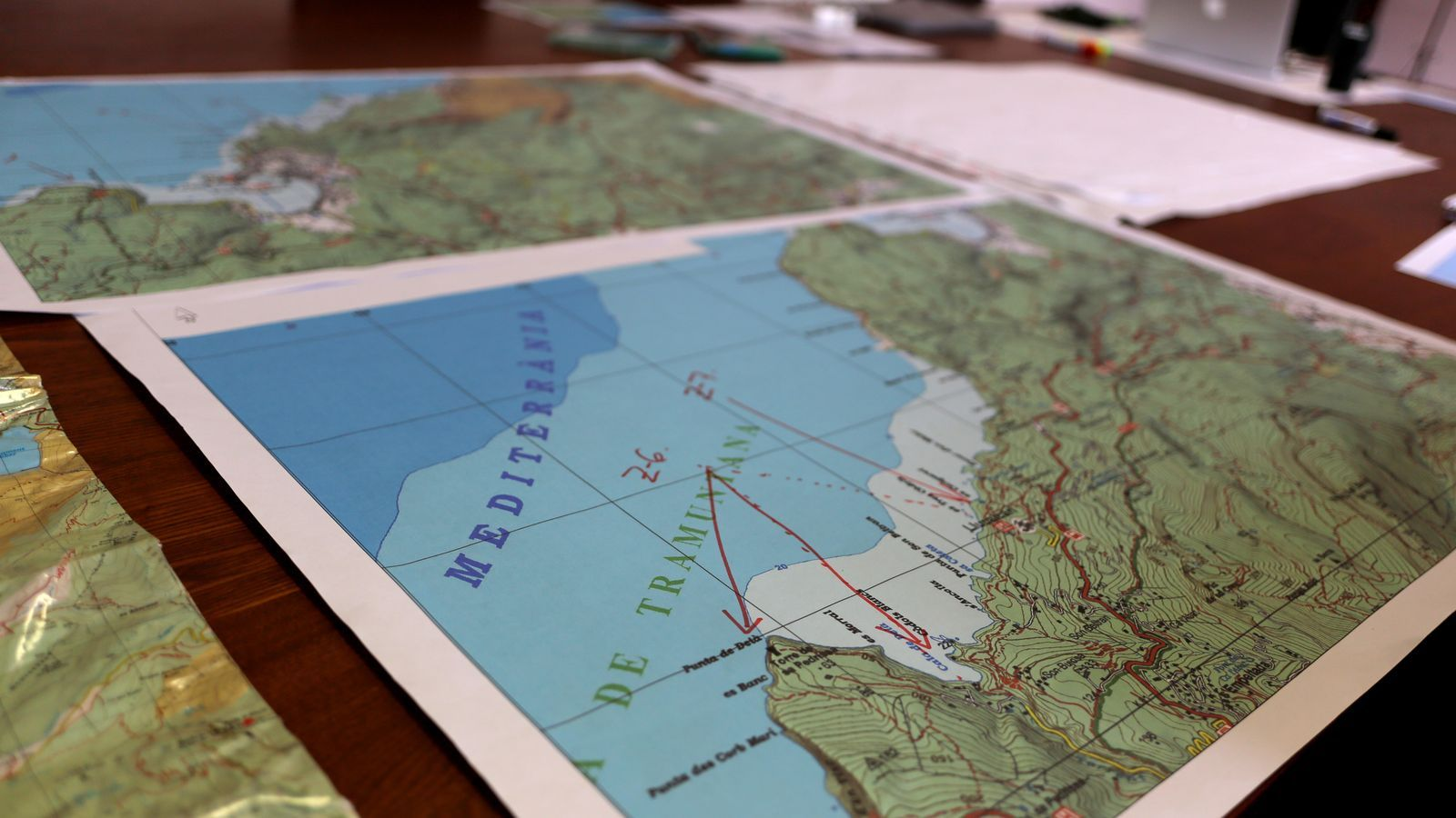 Plànols de la zona on es fa la recerca del desaparegut David Cabrera
