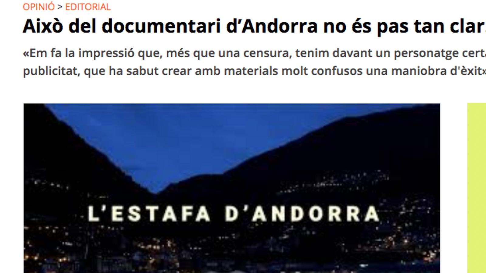"""Vilaweb diu que el documental causa """"sensació de parany"""""""