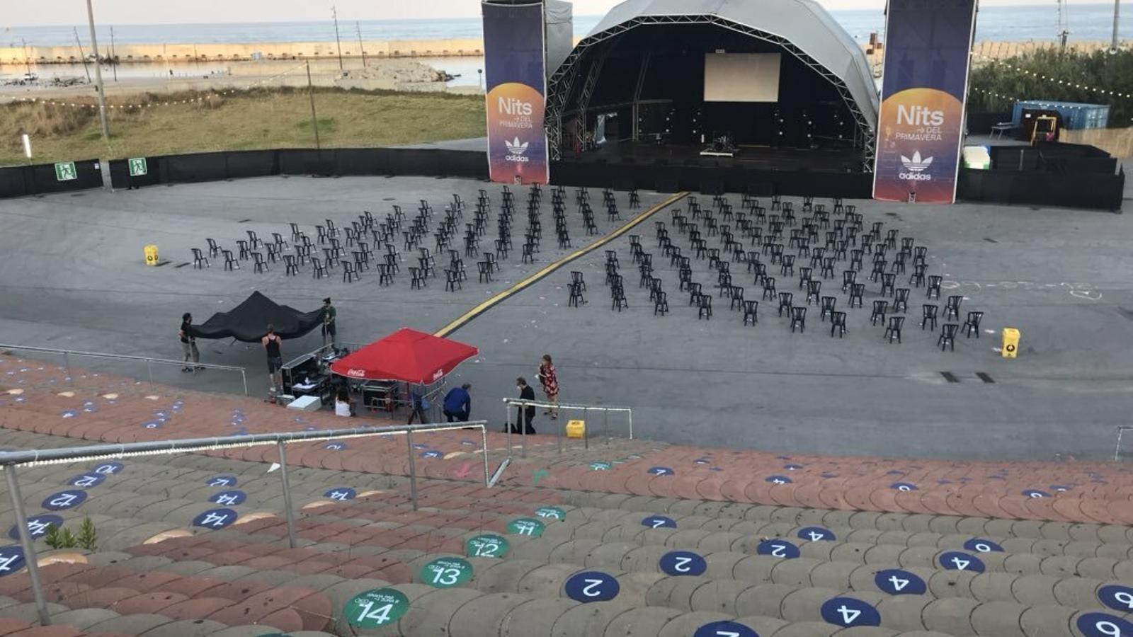 L'amfiteatre del Fòrum abans dels concerts de La Prohibida i Monterrosa