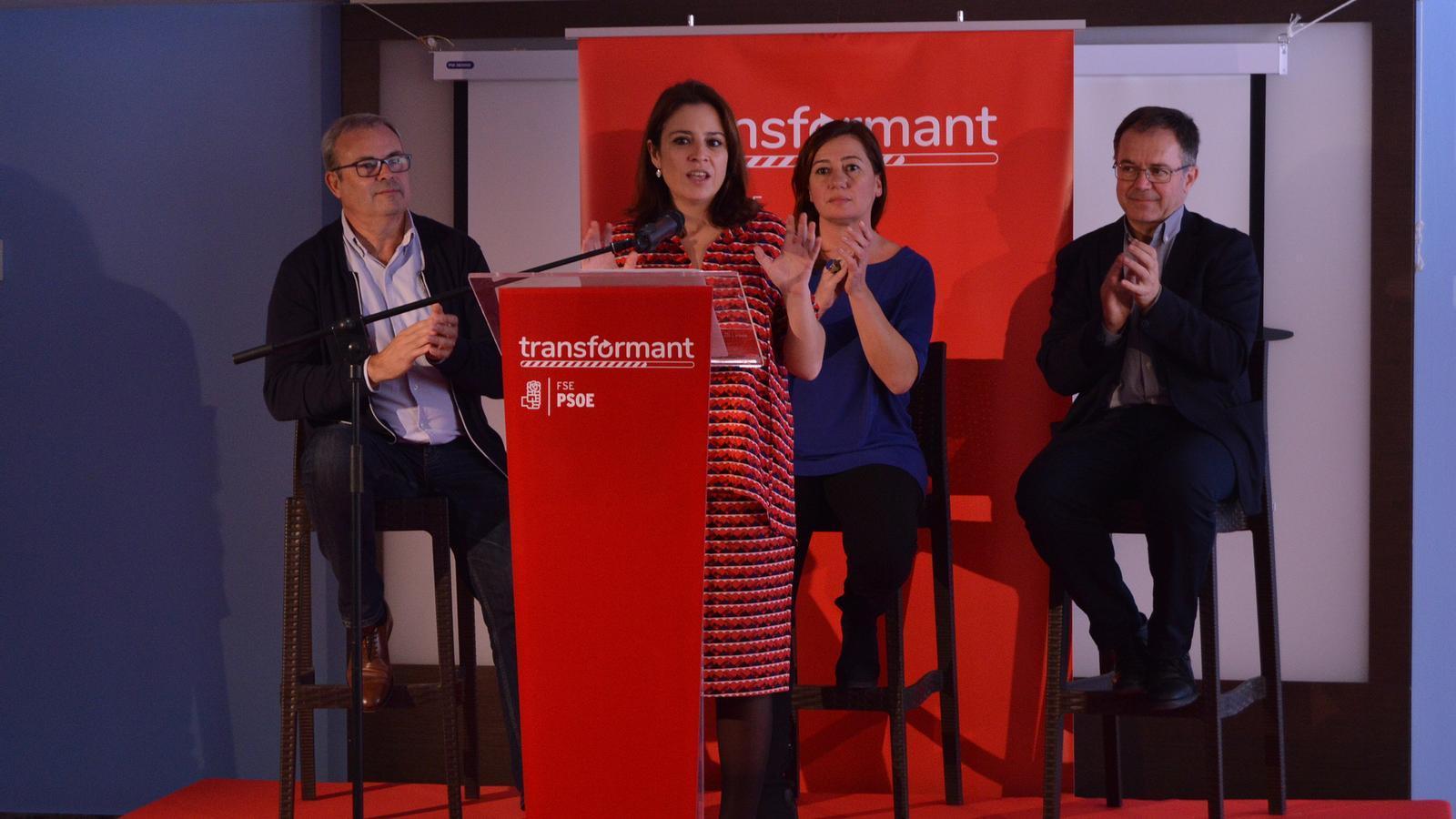 La portaveu del Congrés Adriana Lastra durant la seva intervenció a Eivissa.