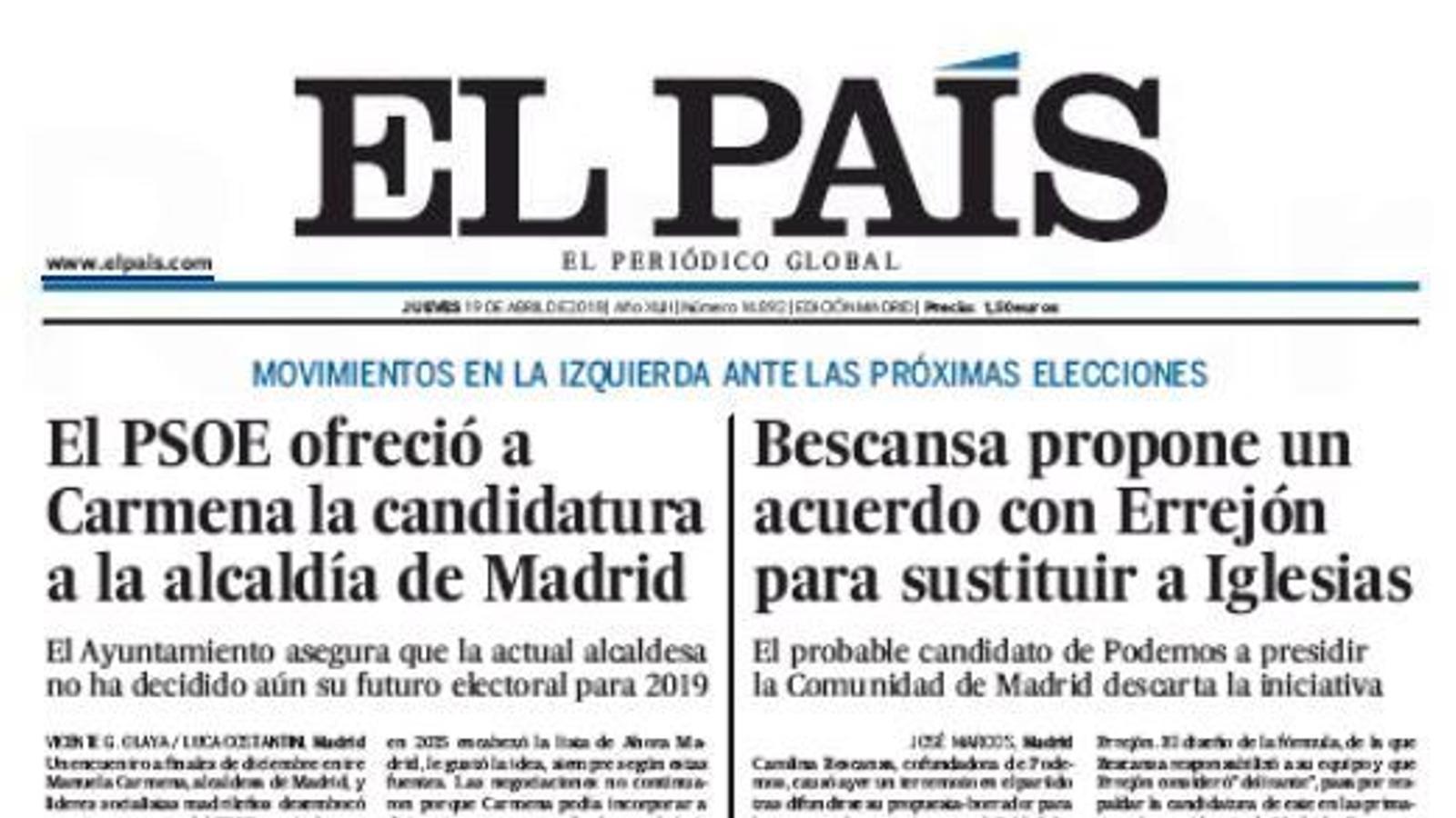 Portada d'El País, 19 d'abril del 2018