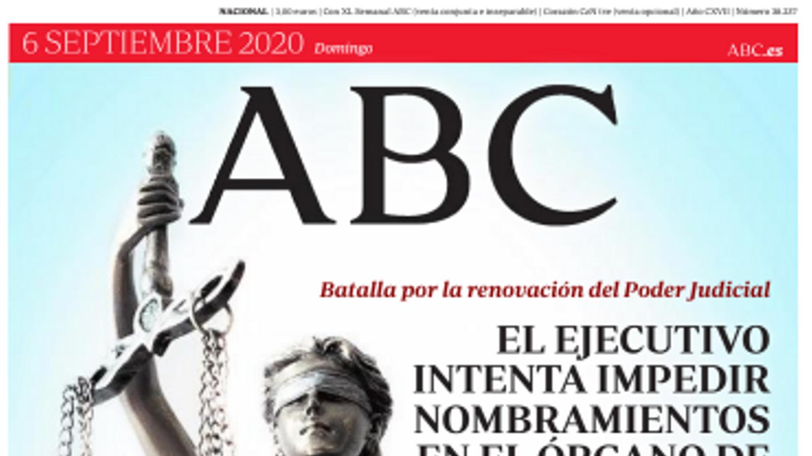 La portada de l'Abc' del diumenge 6 de setembre de 2020