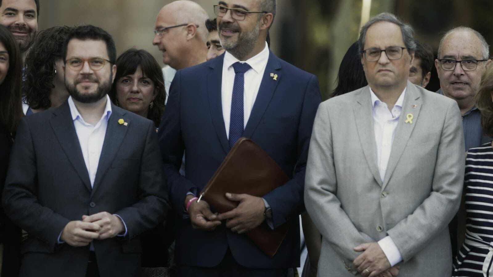 El conseller d'Interior, Miquel Buch, acompanyat del president Torra i el vicepresident Aragonès