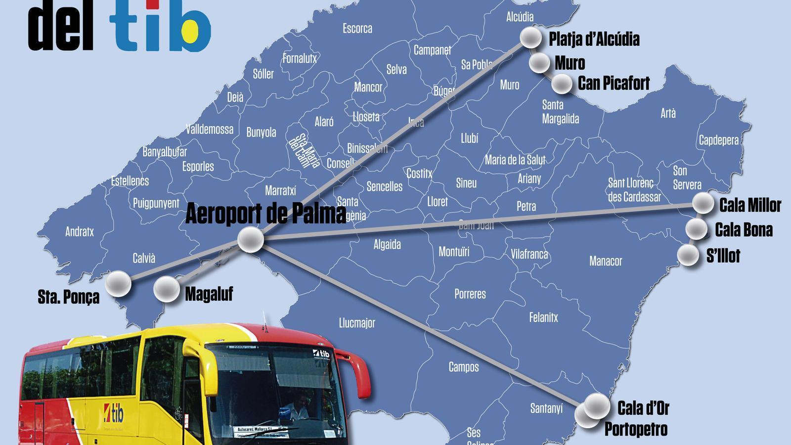 Cinc línies de busos públics connectaran l'aeroport de Palma amb les principals zones turístiques