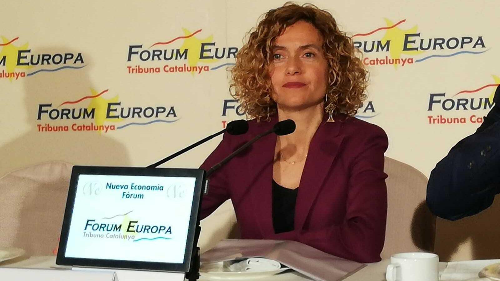 La ministra i candidata del PSC al 28-A, Meritxell Batet, aquest dimecres a l'esmorzar informatiu del Fòrum Europa-Tribuna Catalunya