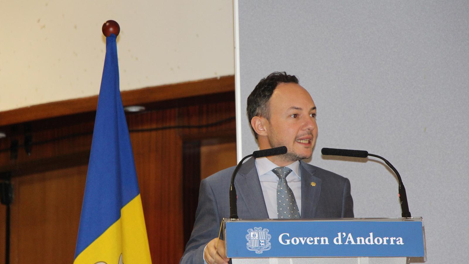 El cap de Govern, Xavier Espot, en el moment del parlament. / C.A.