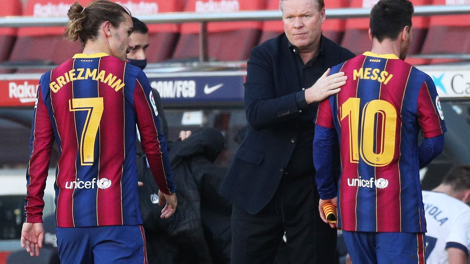 Ronald Koeman amb Griezmann i Messi