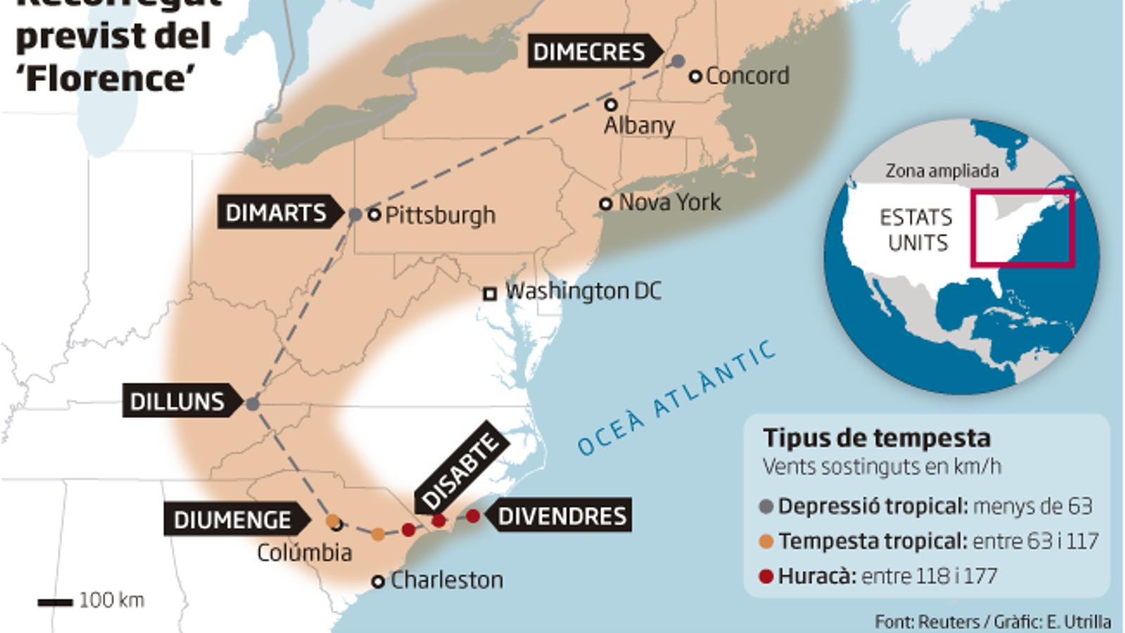 El 'Florence' sacseja la costa est dels EUA