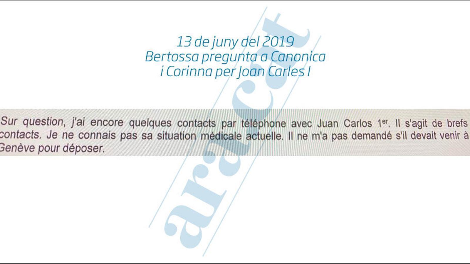 El fiscal Bertossa va plantejar que Joan Carles I declarés a Suïssa i a Madrid