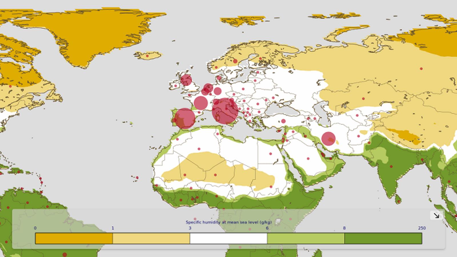 Comparació entre nivells d'humitat i víctimes per Coronavirus