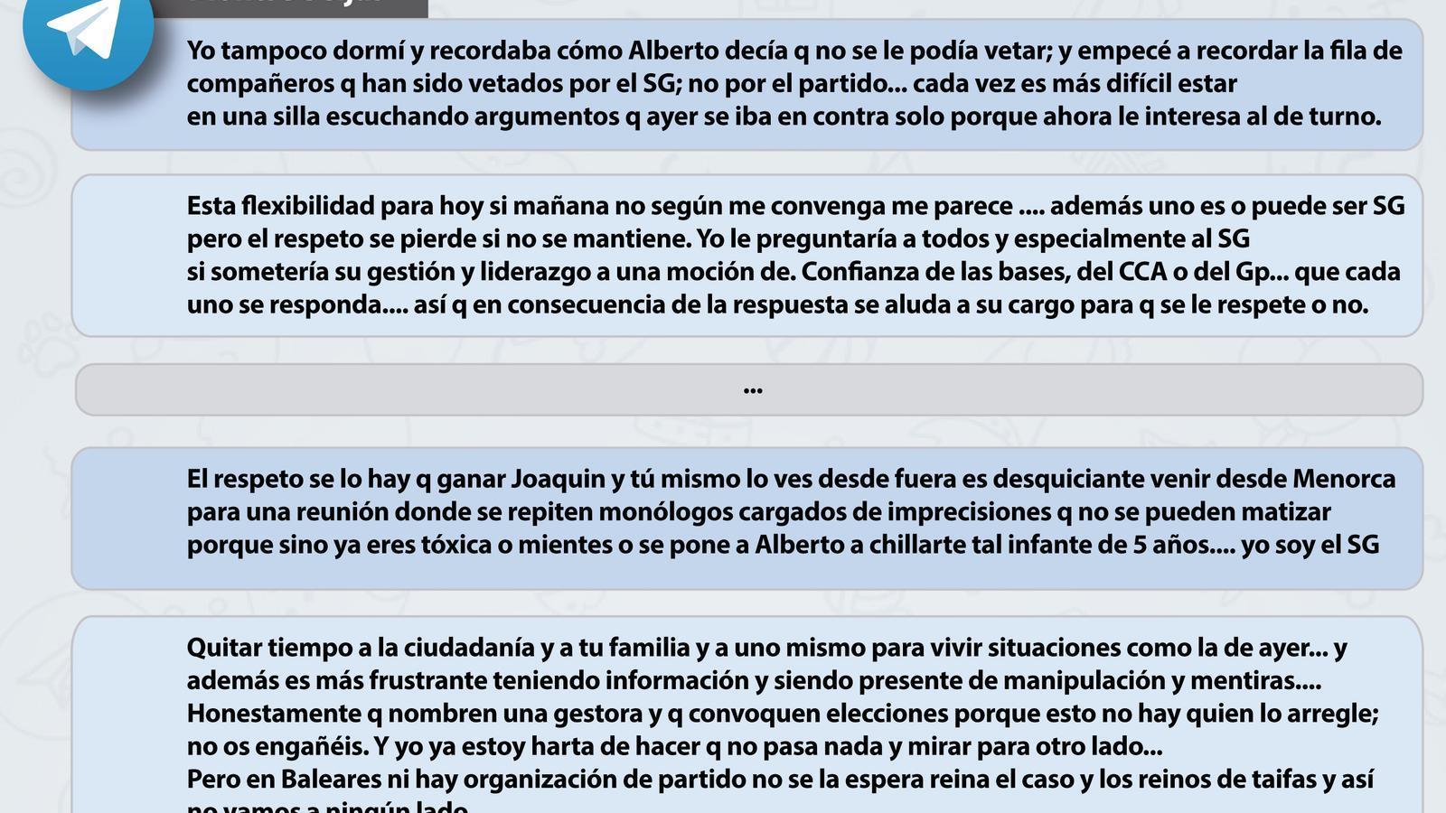 Alguns dels missatges de Seijas al xat del Consell Ciutadà Autonòmic