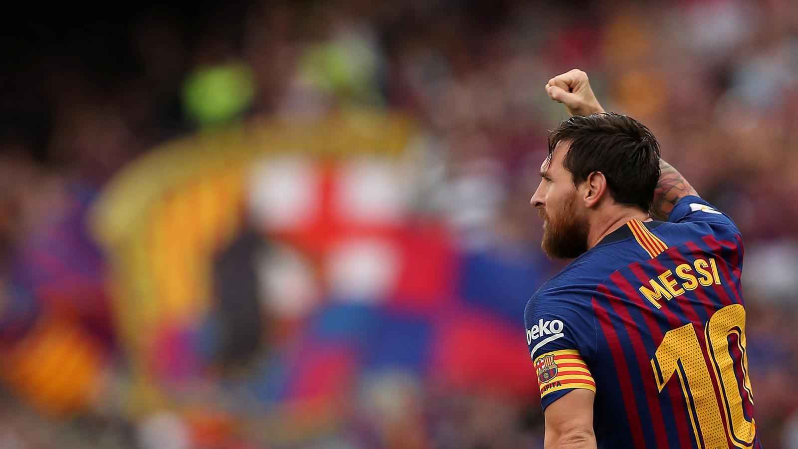 Messi celebrant el seu primer gol contra els aragonesos.