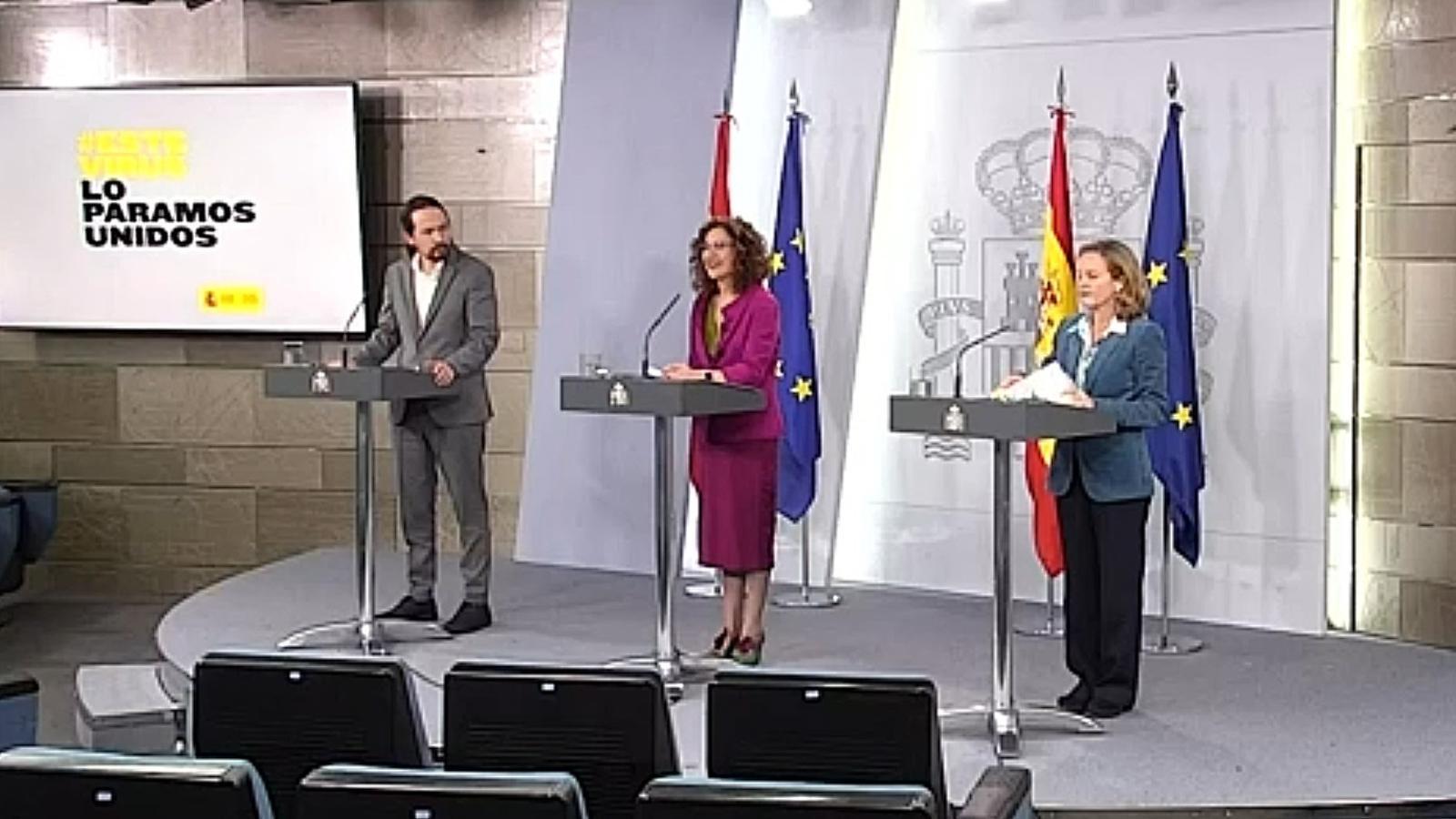 Roda de premsa telemàtica del consell de ministres, amb Pablo Iglesias, María Jesús Montero i Nadia Calviño.
