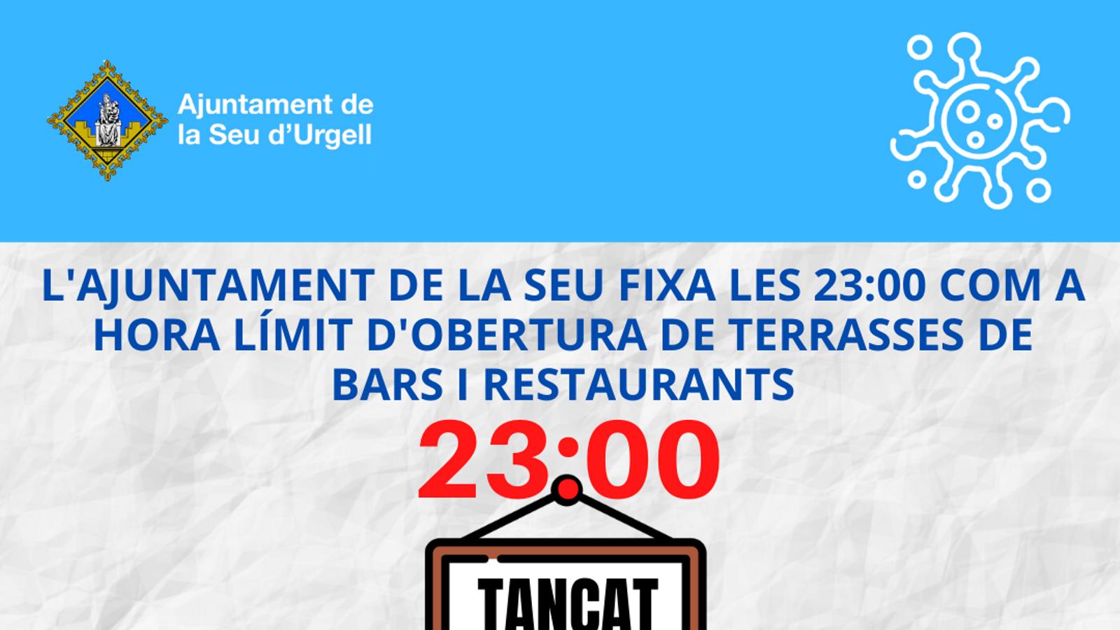 Cartell d'horaris de terrasses de bars i restaurants. / Ajuntament de la Seu d'Urgell