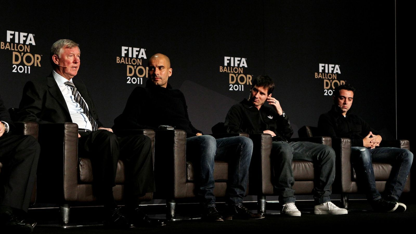 Ferguson, Guardiola, Messi i Xavi, durant la conferència de premsa prèvia a la Gala FIFA