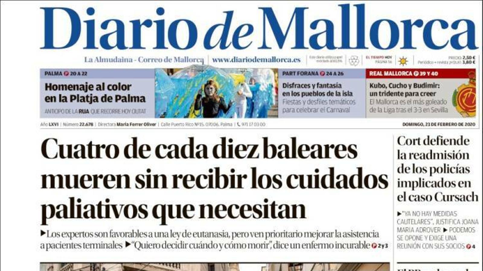 """""""Quatre de cada deu balears moren sense rebre les cures pal·liatives que necessiten"""", portada de 'Diario de Mallorca'"""