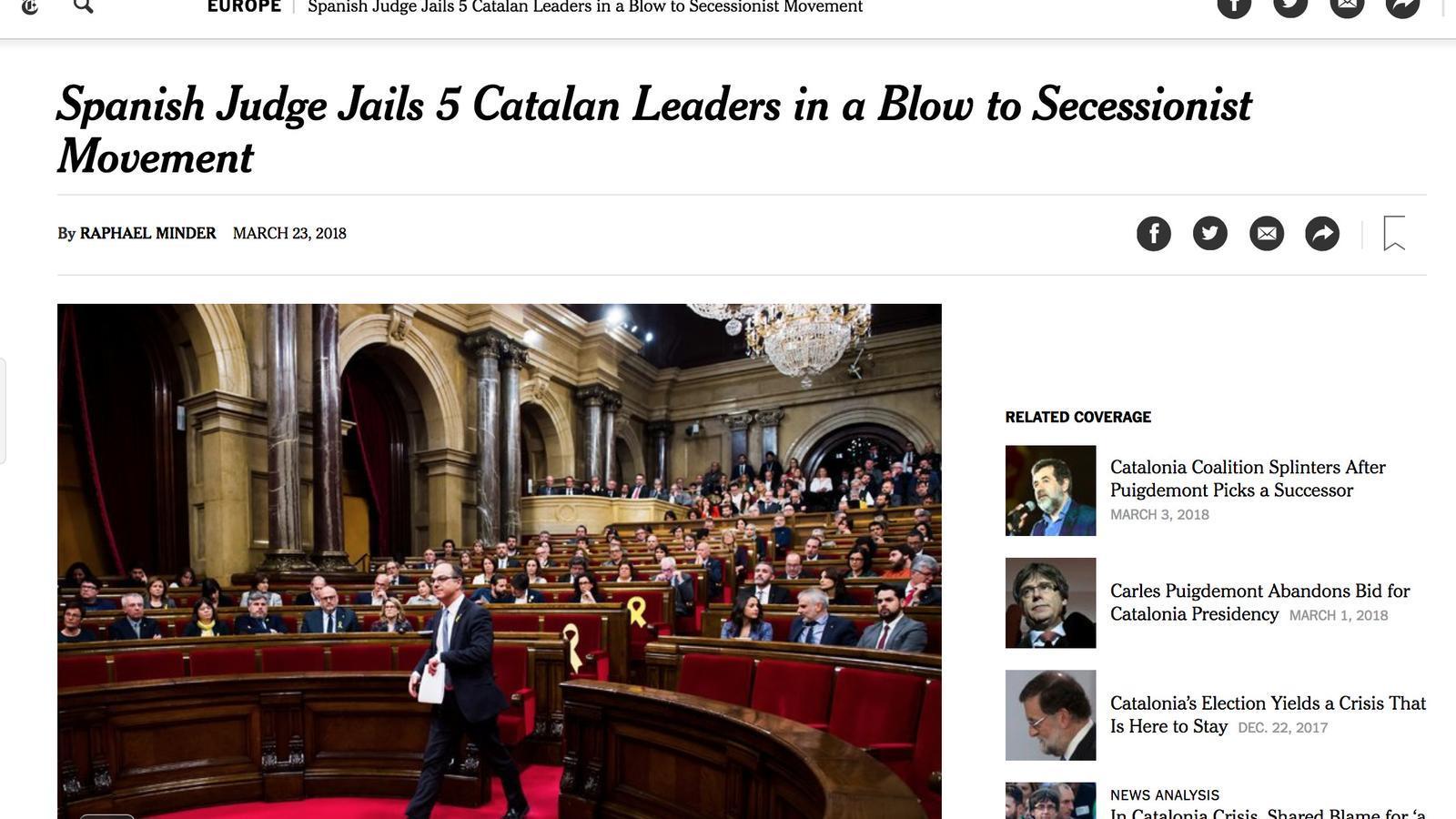 """""""La justícia espanyola assesta un cop a l'independentisme català"""" i altres reaccions a la premsa internacional"""