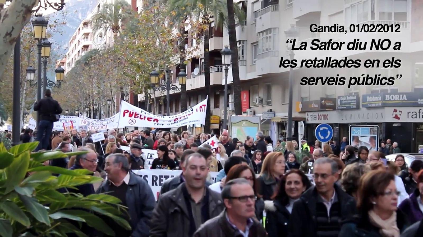 Manifestació a Gandia contra les retallades