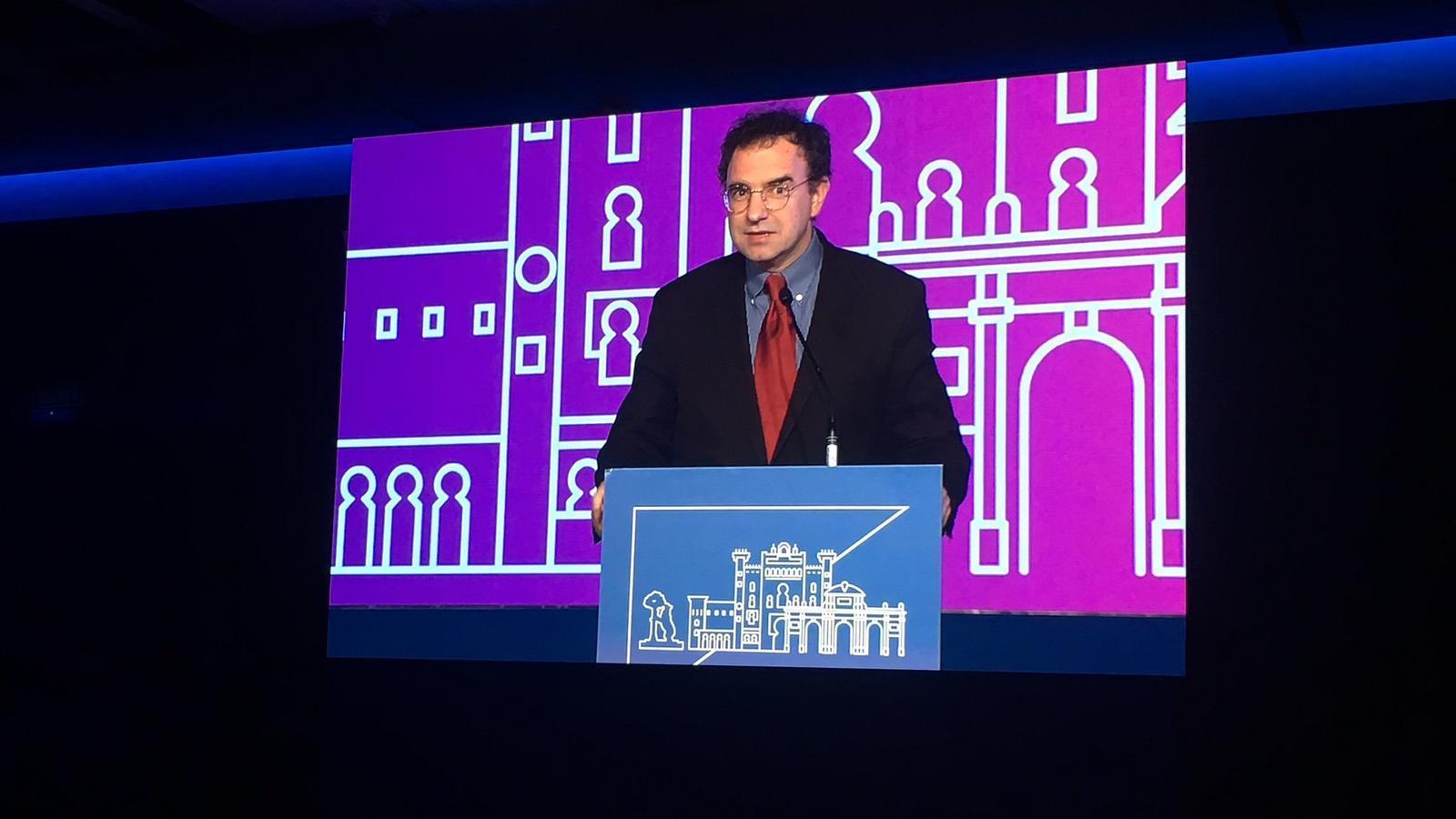El president de la Internacional Lliberal, Juli Minoves, en la seva participació al congrés de l'ALDE. / ALDE