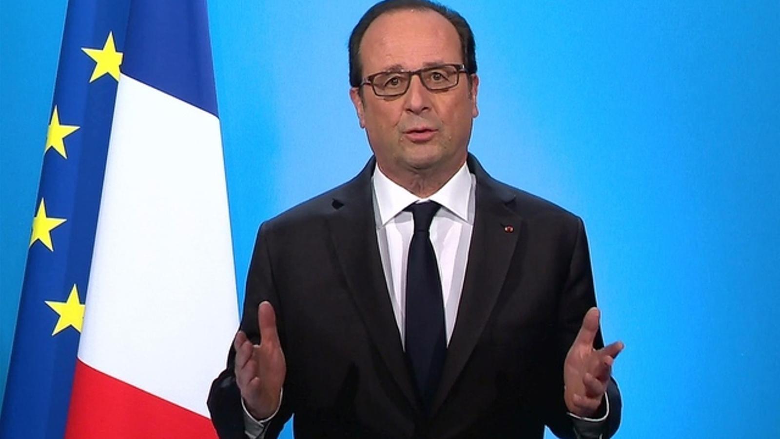 Hollande en el moment de l'anunci.