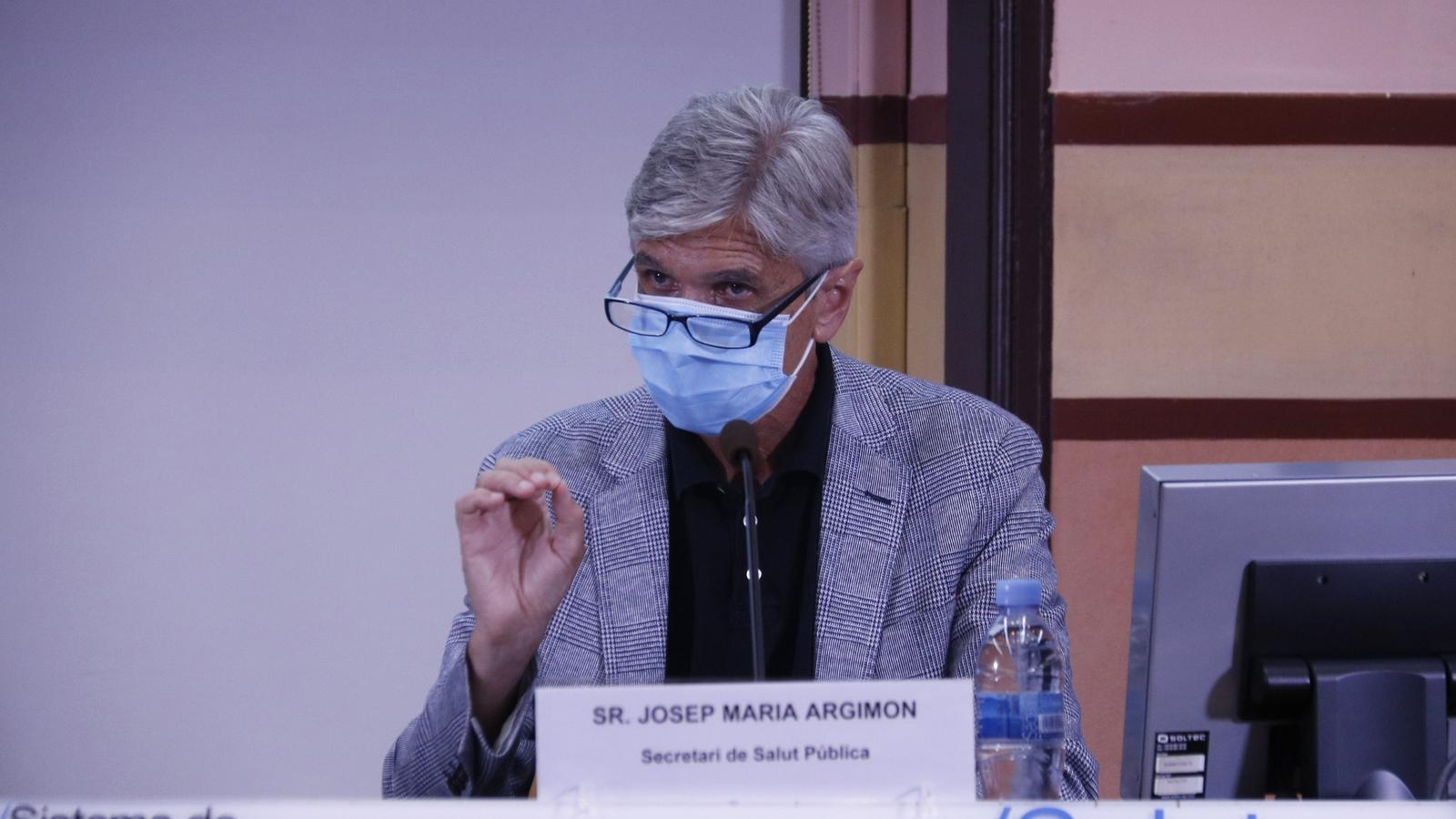 Roda de premsa del secretari de Salut Pública, Josep Maria Argimon, el director del CatSalut, Adrià Comella, i el coordinador de la unitat de seguiment del covid-19, Jacobo Mendioroz, d'aquest dijous 13 d'agost.
