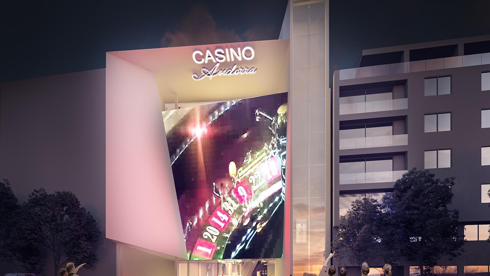 Fotomuntatge de la façana de l'edifici que proposa Jocs SA, la guanyadora del concurs, per acollir el casino al carrer Prat de la Creu d'Andorra la Vella. / ARXIU ANA