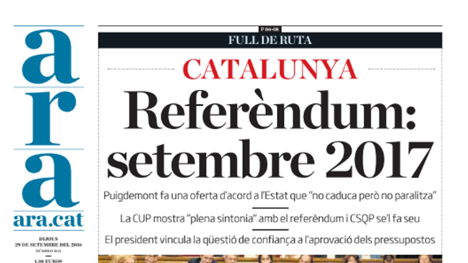 """""""Catalunya: referèndum, setembre 2017"""", portada de l'ARA d'aquest dijous"""